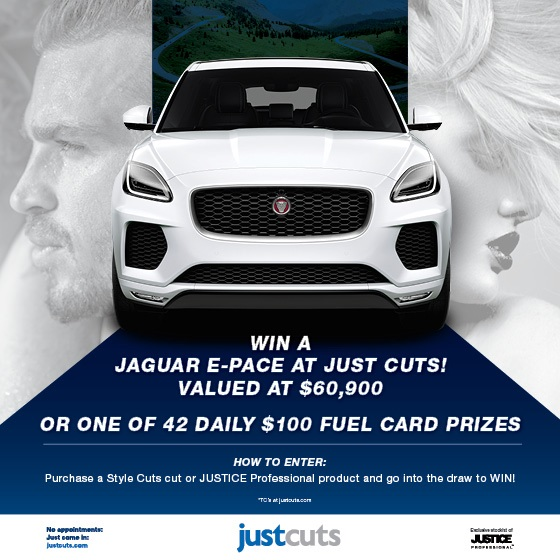 <p>Did you hear the exciting news?! Just Cuts is giving away a Jaguar E-pace valued at $60,900! Visit the salon and purchase any Style Cut or JUSTICE Professional product and you can enter the draw for your chance to WIN. 42x daily $100 fuel card prizes are also up for grabs! We guess we'll see you soon. 😉</p> <p> </p> <p>*Giveaway closes September 8<sup>th</sup> 2019 at 11:59pm AEST. See justcuts.com for full terms and conditions</p> <p> </p>