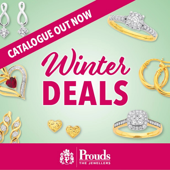 <p>Thinking about Jewellery? Think Prouds The Jewellers.</p> <p>Our Winter Deals Catalogue is out now with up to 50% off selected items!</p> <p>Prouds have a huge selection of jewellery & watches for you to choose from.</p> <p>Dreams come true at Prouds.</p> <p></p>