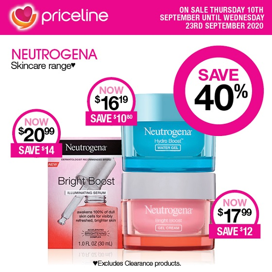 <p>Priceline have all your health, beauty and wellbeing needs covered.</p> <p>Right now save a massive 40% on the Neutrogena Skincare range</p> <p>Plus, save 40% on L'ORÉAL PARIS Cosmetic & Skincare ranges.</p> <p>Sale ends Wednesday 23rd September.</p> <p></p> <p>*Excludes Clearance products. Excludes packs.</p>