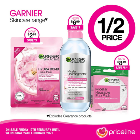 <p>Priceline has all your health, beauty and wellbeing needs covered.</p> <p>Right now, save ½ Price on the Garnier Skincare Range.</p> <p>Plus,  receive a free haircare gift bag valued at over $160 when you spend $49 on Haircare, Hair Accessories, or Hair Removal across participating brands.</p> <p>Head in-store today, these offers end Wednesday 24th February.</p> <p><em>[Disclaimer:]</em> Exclusions apply, please see in-store for details</p>