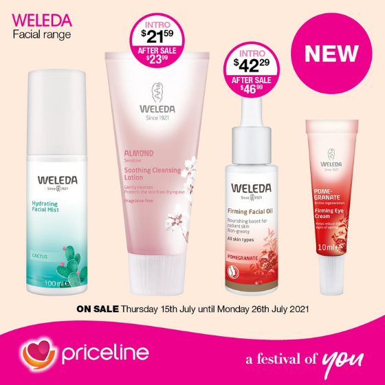 <p>Priceline has all your health, beauty and wellbeing needs covered.</p> <p>Right now, shop thenewWeledafacial skincare range</p> <p>Plus,hot offers acrossRimmel London,Dove and more!</p> <p>Head in-store today, these offers endMonday 26<sup>th</sup>July</p>