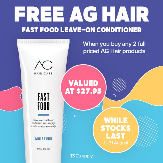 <p><em>It's AG August at Price Attack. Simply buy any 2 full price AG Hair products to receive a FREE AG Hair Fast Food Leave-on Conditioner 178ml valued at $27.95. </em></p> <p><em>Hurry! Only while stocks last. Offer ends 31<sup>st</sup> August 2021.</em></p> <p><em></em><em>Visit priceattack.com.au for T&Cs.</em></p>